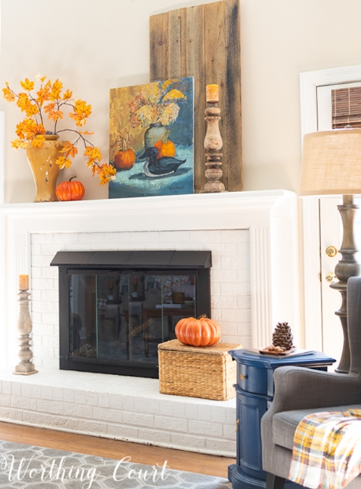 Simple Colorful Fall Mantel by Worthing Court