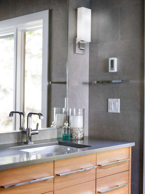 Gray Mid-Century Modern Bathroom with Contemporary Vanity