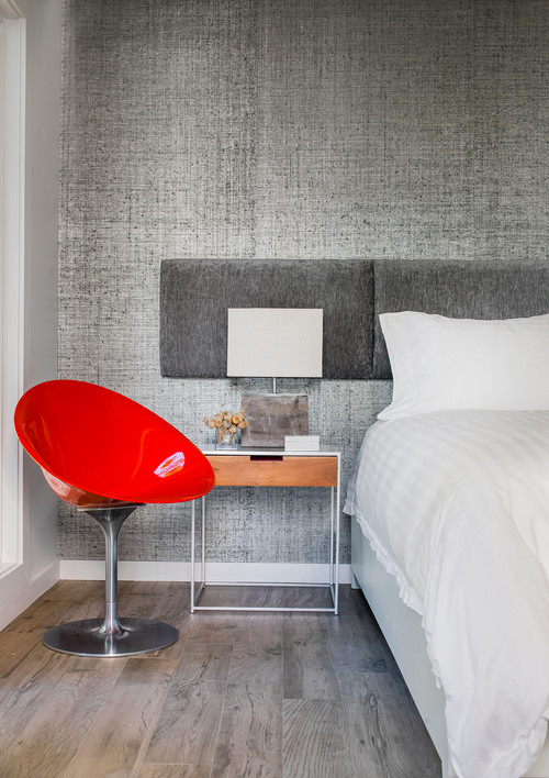 Gray and Red Mid-Century Modern Bedroom