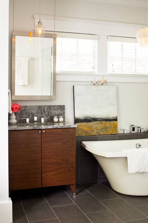 Contemporary Bathroom with Landscape Oil Painting