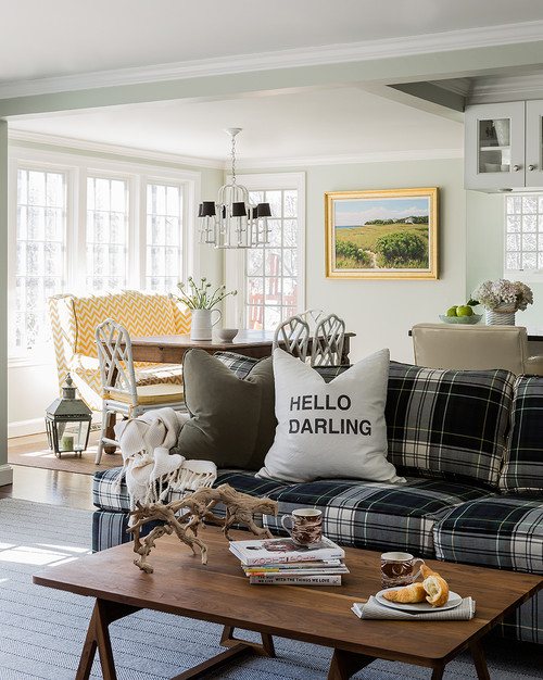 Navy Plaid Couch in Family Room