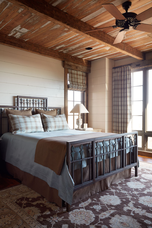 Neutral Country Bedroom with Plaid Bedding and Curtains