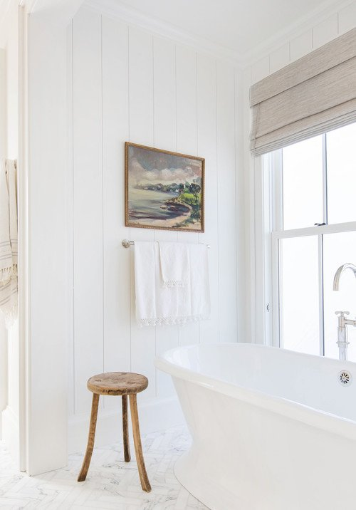 White Farmhouse Bathroom with Shiplap Walls