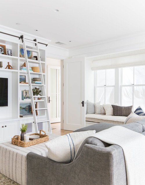 Casual Style Neutral Family Room with Bookcase and Ladder