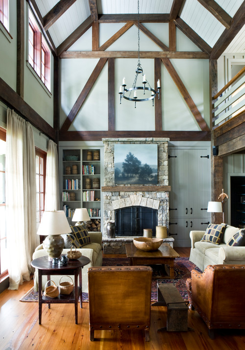 Rustic Living Room in Neutral Tones with Vaulted Ceiling