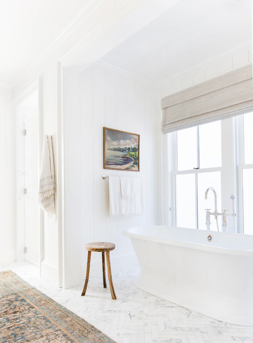 White Farmhouse Bathroom with Landscape Painting for Wall Decor