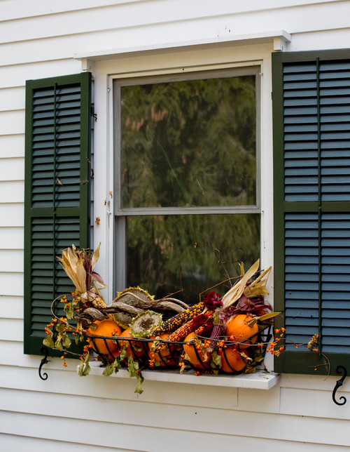 Fall Window Flower Box with Gourds and Indian Corn