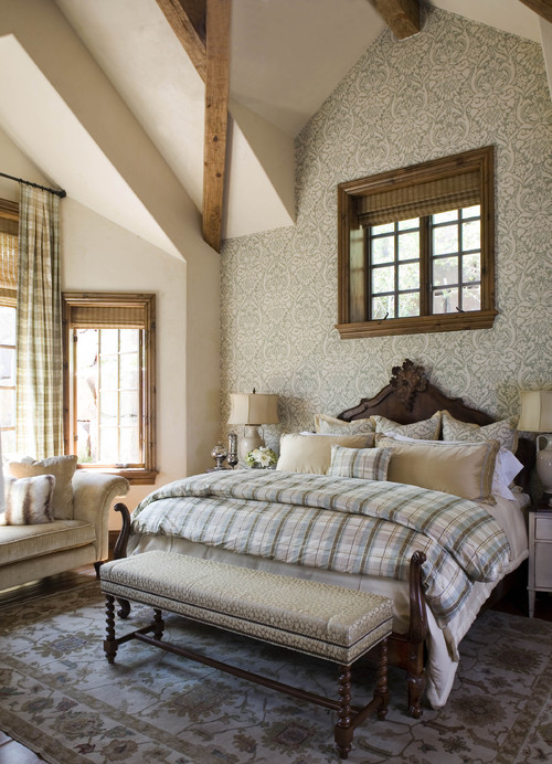 Gorgeous Neutral Bedroom with Plaids and Patterns in Neutral Tones