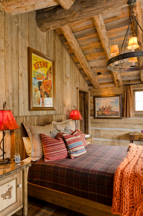 Warm Woolen Plaid Blankets on the Bed in a Cabin Style Bedroom