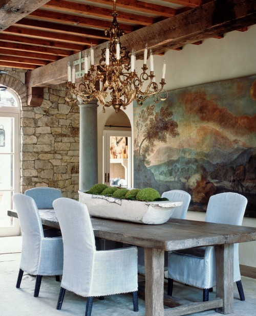 Landscape Painting on Tapestry in Rustic Dining Room