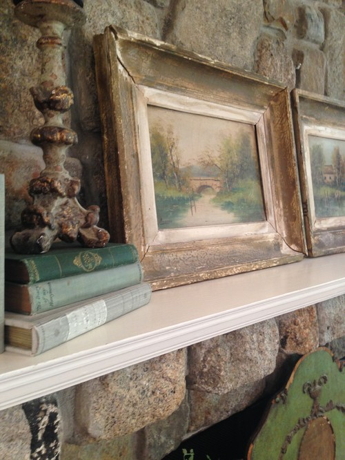 Pair of Oil Landscape Paintings on Rustic Fireplace Mantel