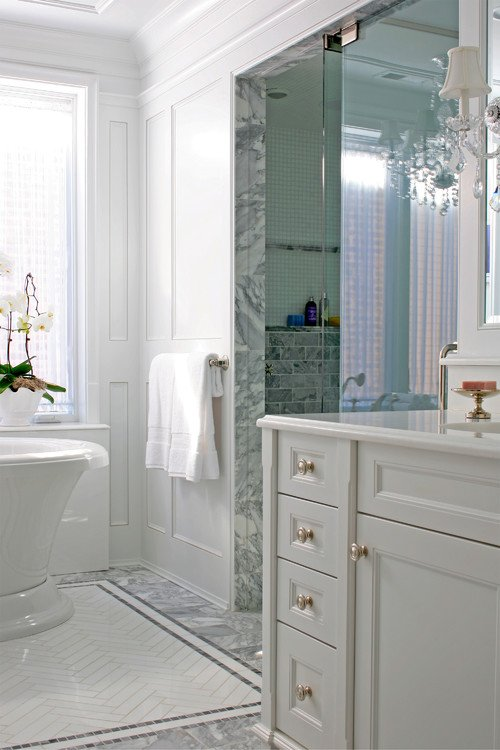 White Bathroom with Free Standing Tub and Walk-in Shower