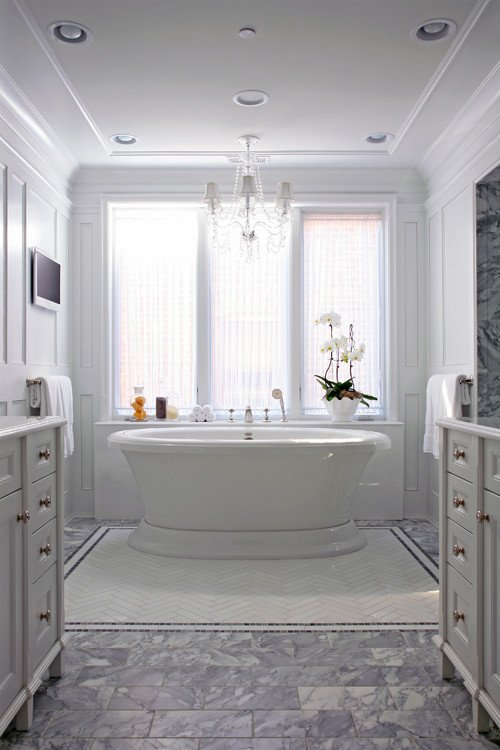 White Master Bathroom with Freestanding Bath Tub