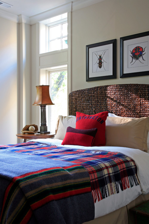 Country Style Bedroom with Plaid Woolen Blanket