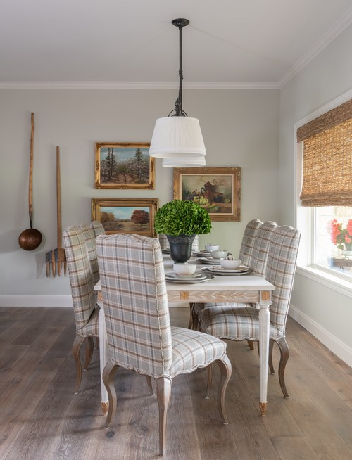 Neutral Dining Room with Plaid Upholstered Chairs