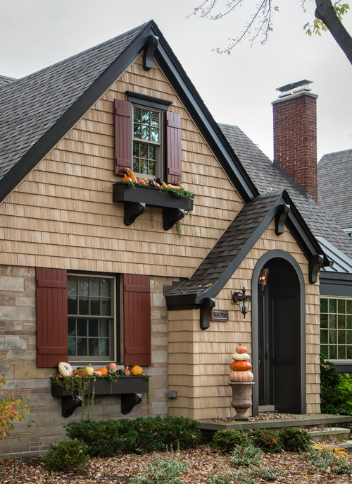 Craftsman Style Home with Fall Decorations
