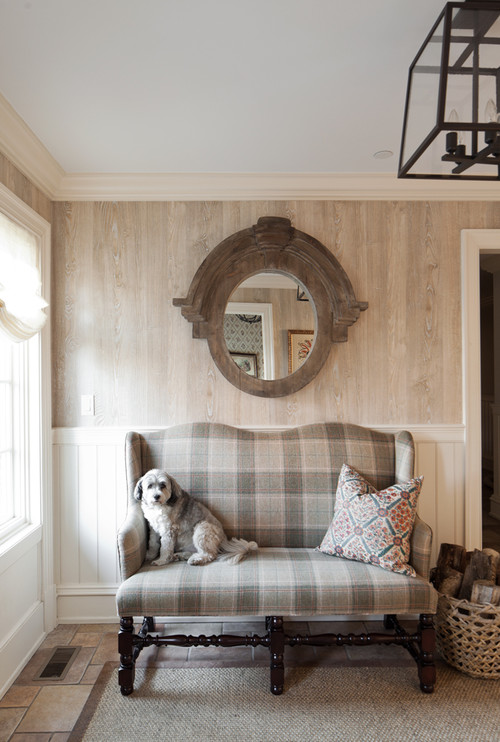 Neutral Plaid Settee in Entryway