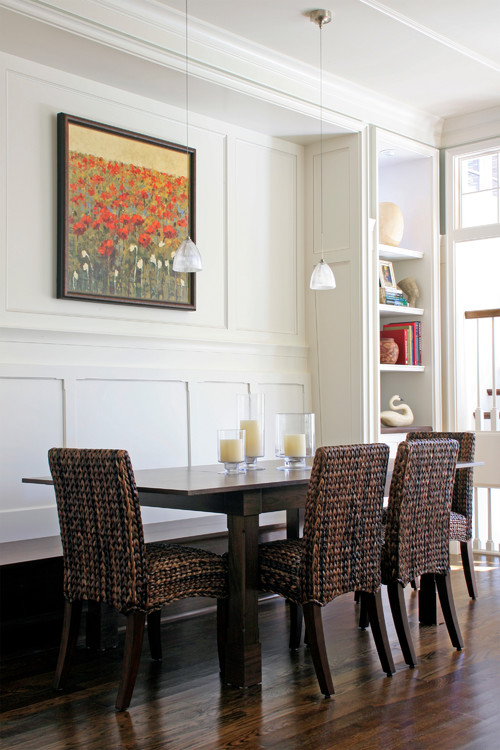 Eat-In Kitchen with Rattan Chairs and Banquette