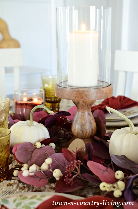 Thanksgiving Table Setting in Burgundy and Yellow
