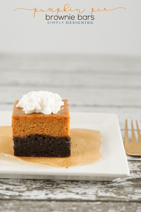 Pumpkin Pie Brownie Bars by Simply Designing