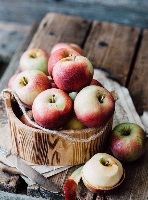 Ripe Red Apples in Wooden Bucket