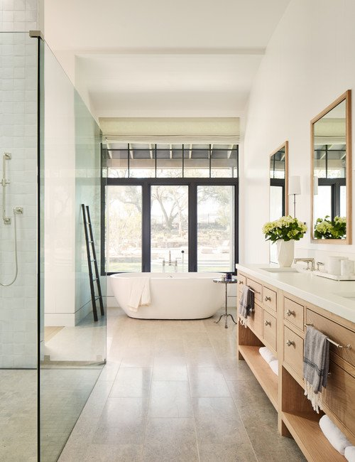 Modern Country Bathroom with Walk-In Shower and Free Standing Bath Tub
