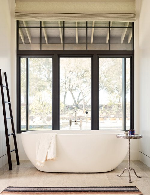 Modern Country Bathroom in the Mountains, with Free Standing Tub