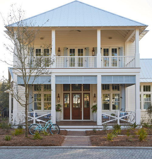 Beach Style Home with Double Decker Exterior Porch