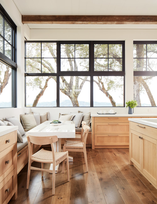 Eat-in Rustic Kitchen with Industrial Style Windows