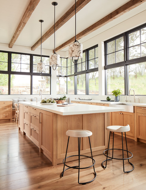 Open and Airy Wood Kitchen in the Perfect Mountain Home
