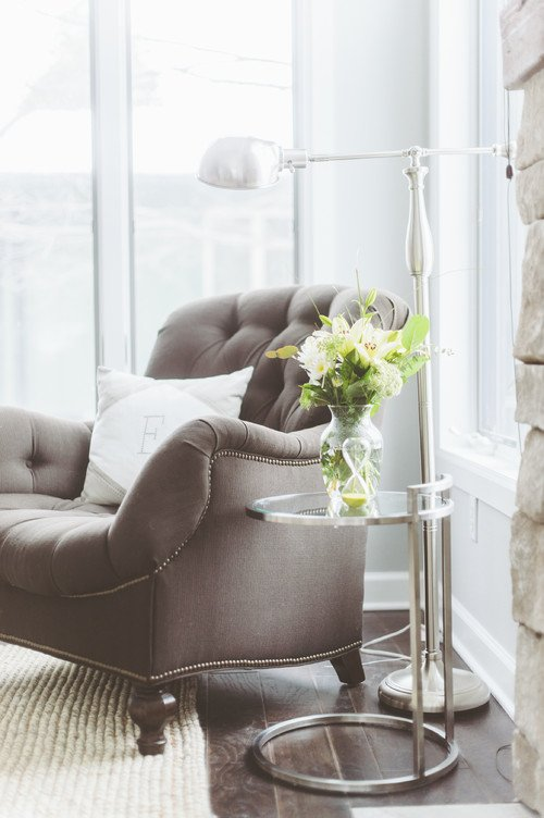 Gray Tufted Over-Stuffed Chair