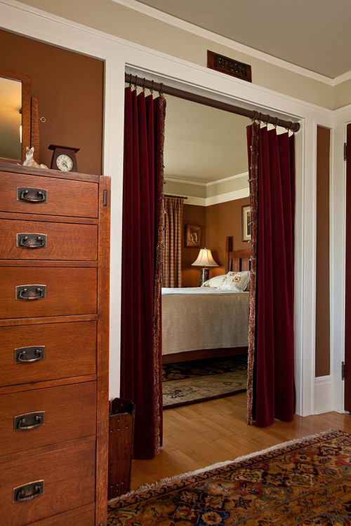 Craftsman Bedroom with Curtained Doorway