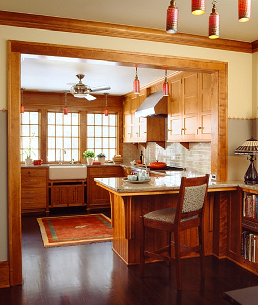 Craftsman Kitchen with Warm Wood Cabinets