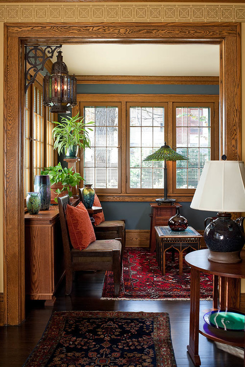 Craftsman Home Living Room with Fireplace