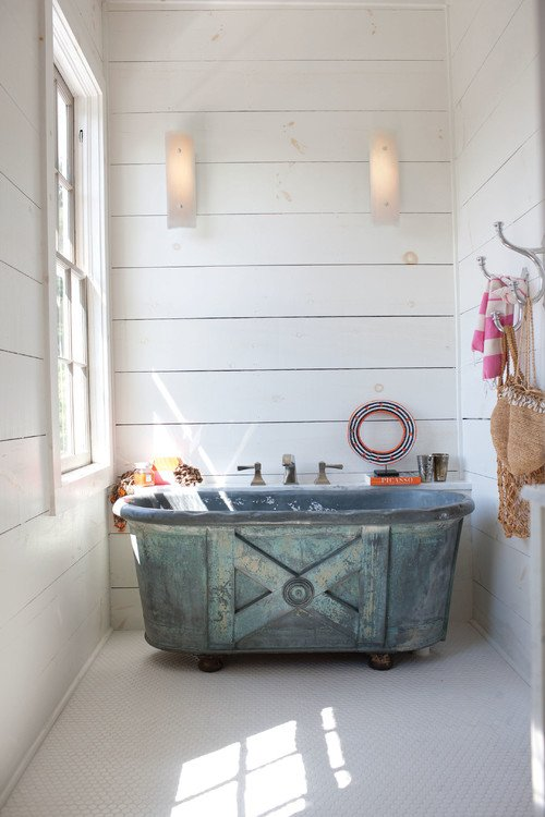 Unique Galvanized Metal Tub in Eclectic Bathroom