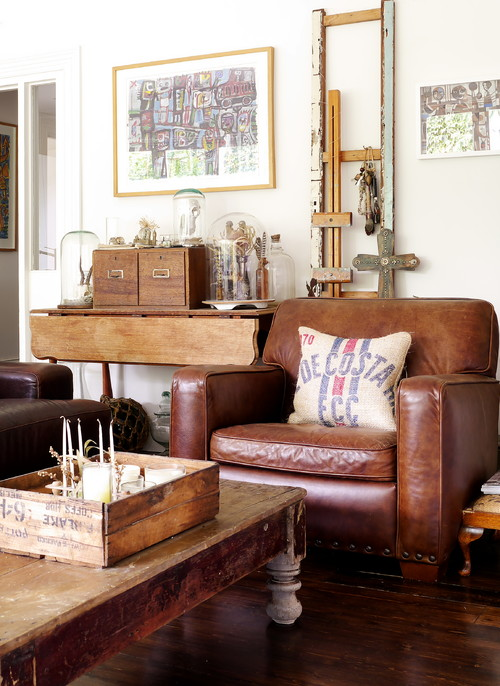 Leather Chair in Vintage Living Room with Flea Market Finds