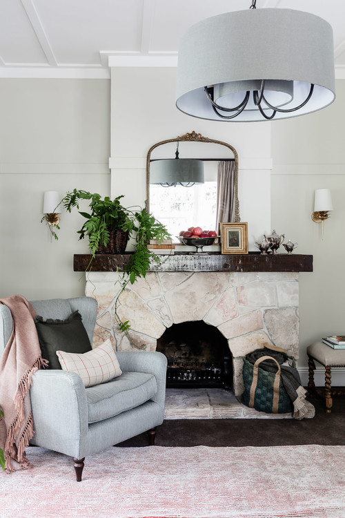 Cozy Reading Corner Next to Old Stone Fireplace