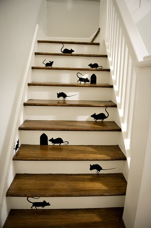 Silhouette Mice on Staircase