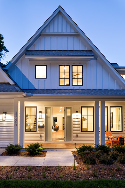 Modern Farmhouse with Nighttime Curb Appeal