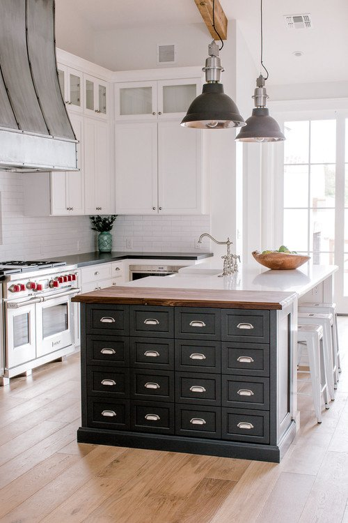 Fixer Upper Style White Kitchen with Island