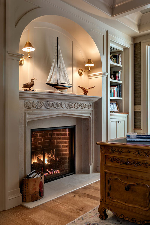 Neutral Painted Fireplace with Carved Trim