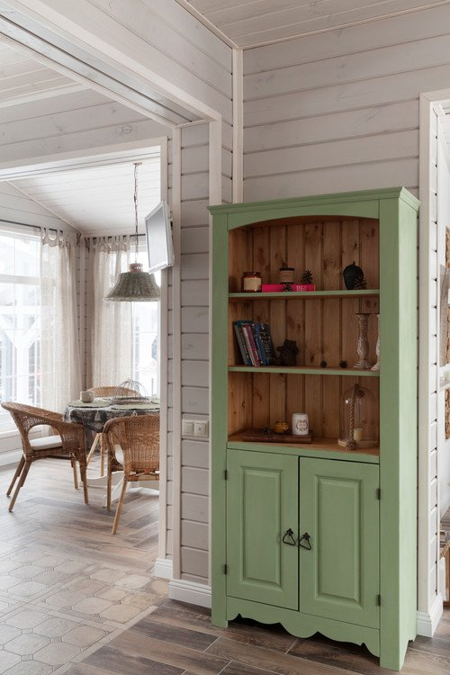 Mint Green Kitchen Cabinet in Moscow Home