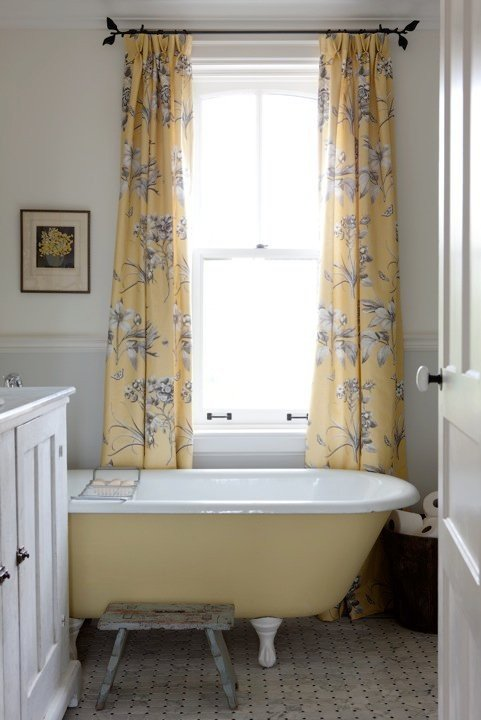 Yellow and Gray Vintage Bathroom with Claw Foot Tub