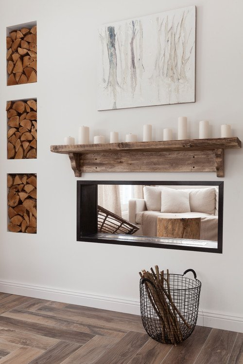Rustic Mantel with White Candles