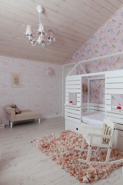 Girls Bedroom with Custom Bed