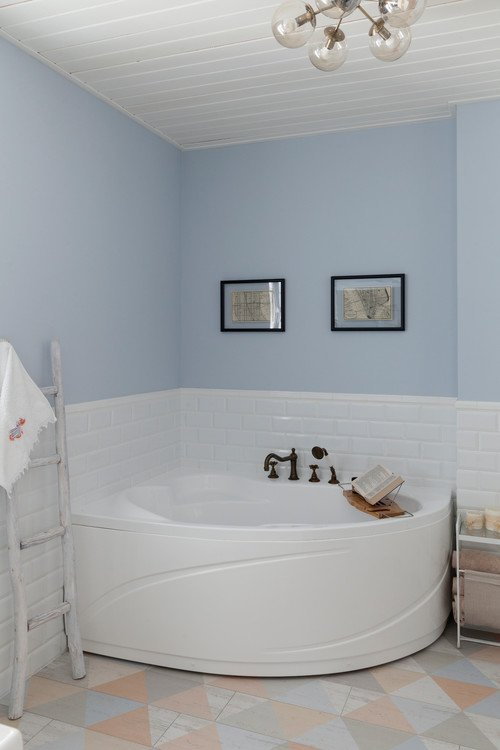 White and Pale Blue Bathroom