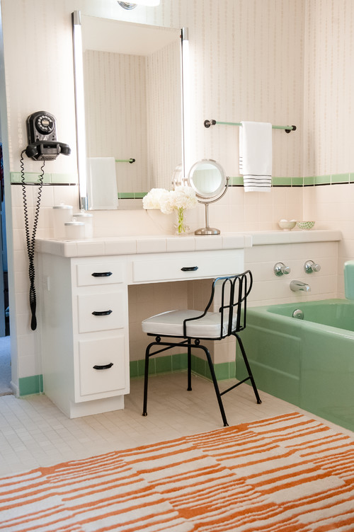 Mid Century Green and White Bathroom