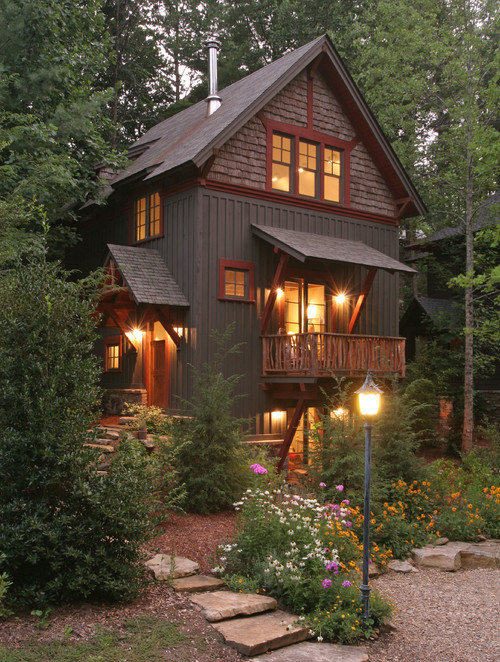 Rustic Woodsy House at Night