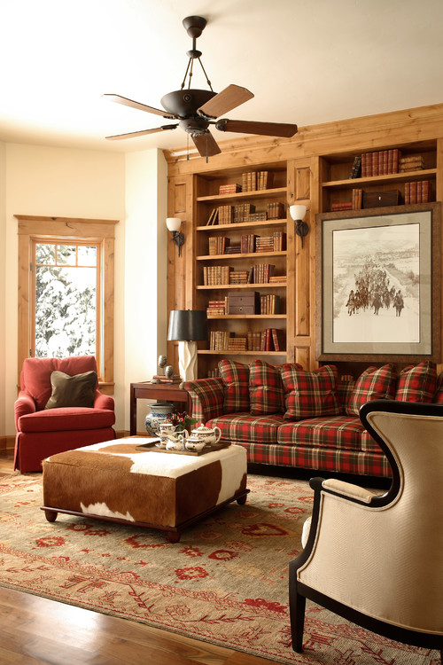 Warm and Cozy Living Room with Fireplace and Built-In Bookcase