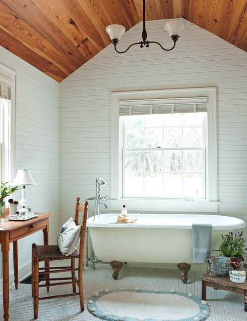 Vintage Inspired Bathroom with Claw Foot Tub